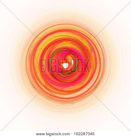 Red orange fractal with heart symbol shape on white square tile