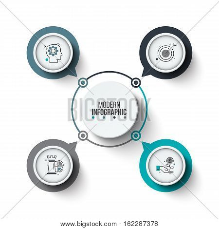 Vector circle infographic. Template for cycle diagram, graph, presentation and round chart. Business concept with 4 options, parts, steps or processes. Stroke icons.