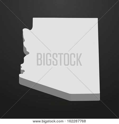 Arizona State map in gray on a black background 3d