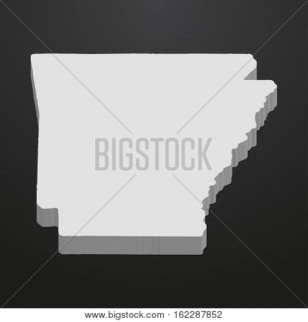Arkansas State map in gray on a black background 3d