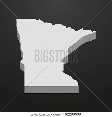 Minnesota State map in gray on a black background 3d