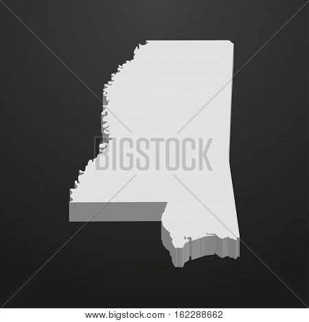 Mississippi State map in gray on a black background 3d