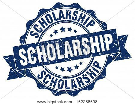 scholarship. stamp. sign. seal. round. retro. ribbon