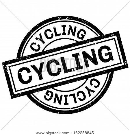 Cycling rubber stamp. Grunge design with dust scratches. Effects can be easily removed for a clean, crisp look. Color is easily changed.