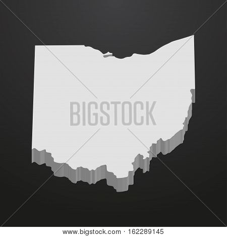 Ohio State map in gray on a black background 3d