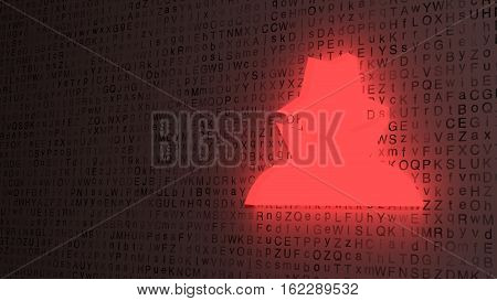 Red hacker symbol made of glowing glass on a random white grunge letter background fading into the darkness 3D illustration cybersecurity concept