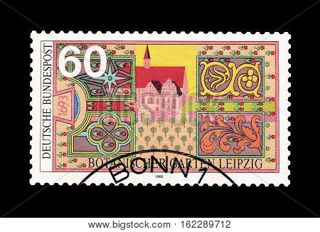 GERMANY - CIRCA 1992 : Cancelled postage stamp printed by Germany, that shows Botanical garden in Leipzig.