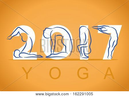Yoga Background With Symbol Of New Year 2017