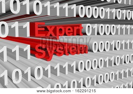 expert system in the form of binary code, 3D illustration