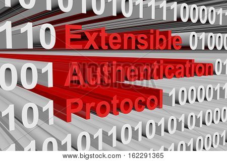 Extensible Authentication Protocol in the form of binary code, 3D illustration