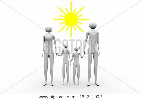 happy family under the sun on white background 3D illustration