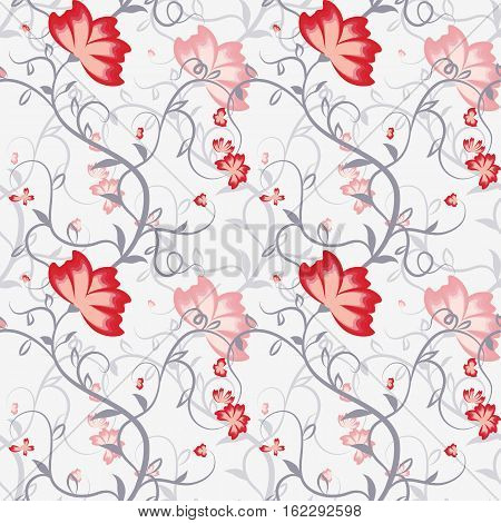 Seamless pattern with delicate intertwining stems and flowers. Vector illustration.