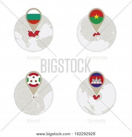 Bulgaria, Burkina Faso, Burundi, Cambodia Map And Flag In Circle.