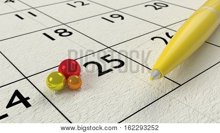 Yellow ballpen on a paper calendar closeup with christmas baubles 3D illustration