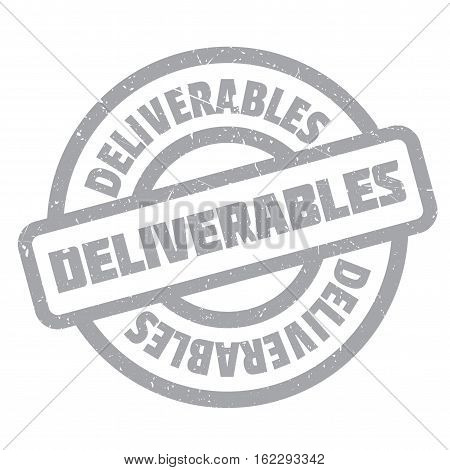 Deliverables rubber stamp. Grunge design with dust scratches. Effects can be easily removed for a clean, crisp look. Color is easily changed.