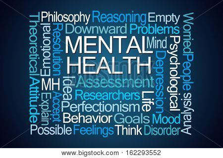 Mental Health Word Cloud on Blue Background