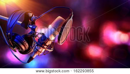 Studio Condenser Microphone And Equipment Live Recording