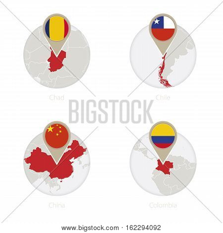 Chad, Chile, China, Colombia Map And Flag In Circle.