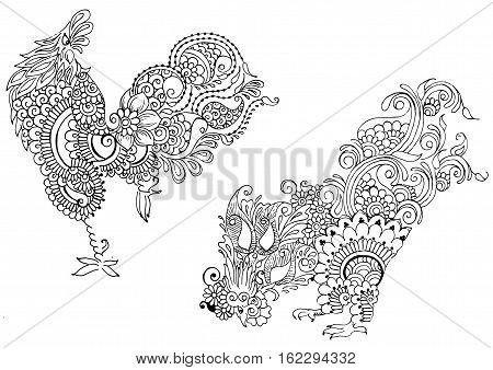 Two cock: pecking, and pacing. Ornate decorated in the style of mehendi.