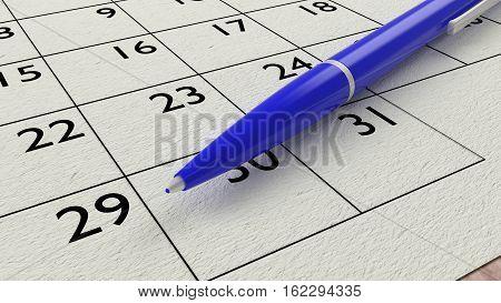 Blue ballpen on a paper calendar closeup 3D illustration