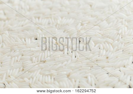 Rice, White Grains Closeup. Basmati. Unpolished, Uncooked, Natural, Diet, Raw For Traditional Asian