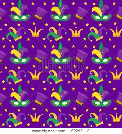 Mardi Gras Carnival seamless pattern with with mask feathers, crown, clown hat. Mardi Gras endless background, texture, wallpaper. Vector illustration