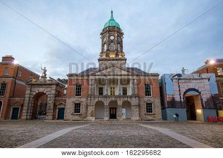 Dublin Ireland - November 07 2016: Panoramic shot of the inner yard of the Dublin Castle