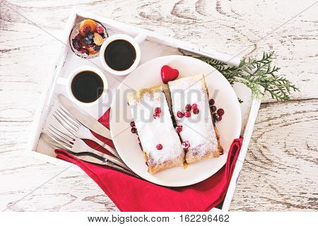 Strudel And Coffee On A Tray