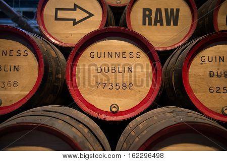 Dublin Ireland - November 07 2016: Barrels of beer at the Guinness Museum