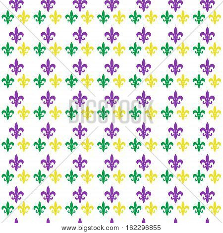 Mardi Gras Carnival seamless pattern with fleur-de-lis. Mardi Gras endless background, texture, wallpaper. Vector illustration