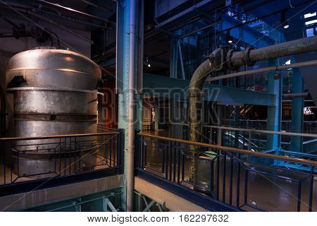 Dublin Ireland - November 07 2016: Giant barrels with beer at the Guinness Museum