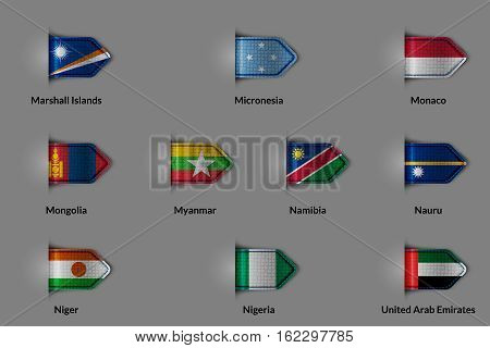 Set of flags in the form of a glossy textured label or bookmark. Countries Marshall Islands Micronesia Monaco Mongolia Myanmar Namibia Nauru Niger Nigeria United Arab Emirates. Vector illustration.