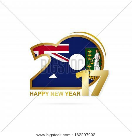 Year 2017 With British Virgin Islands Flag Pattern. Happy New Year Design On White Background.
