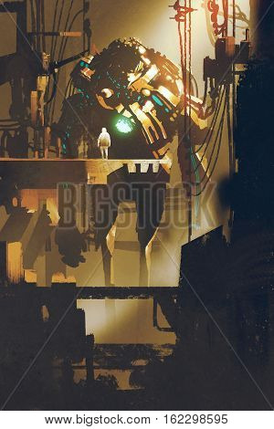 sci-fi scene of giant robot in old factory, illustration painting