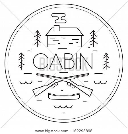 Vector illustration of cabin setting. Hunting at the cabin circular badge. Northwoods cabin minimal line art.