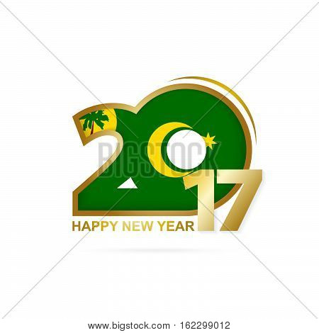 Year 2017 With Cocos Islands Flag Pattern. Happy New Year Design On White Background.