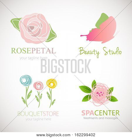 Set of four abstract floral designs/ Logo sdesign for flower shop, beauty salon, massage clinic or yoga center/