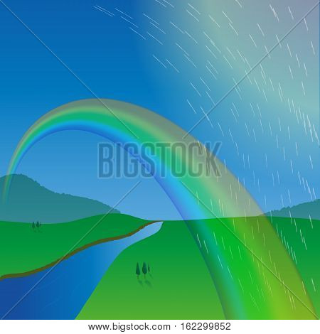 rainbow over the meadow. the rain passes by. the river flows to the horizon. hills. the view from the height. vector illustration.