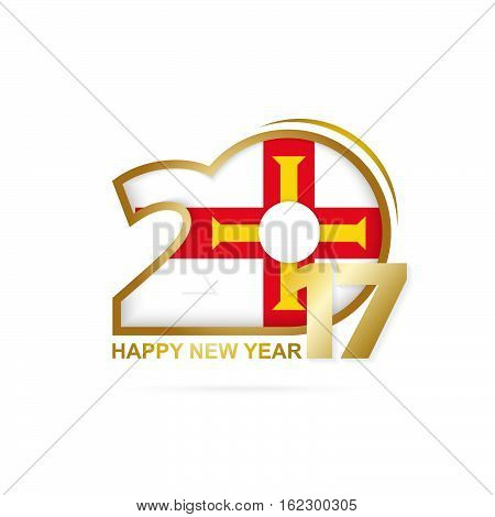 Year 2017 With Guernsey Flag Pattern. Happy New Year Design On White Background.