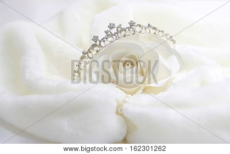 White paper rose princess, Diadem and paper rose in White Fur Coat