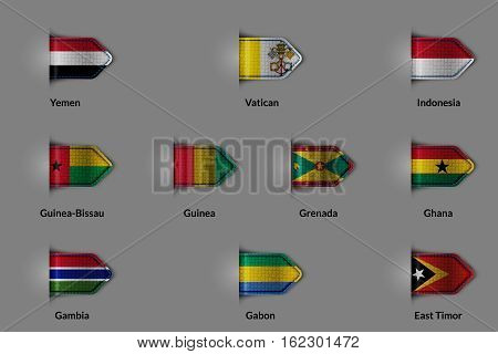 Set of flags in the form of a glossy textured label or bookmark. Yemen Vatican Indonesia Guinea Bissau Guinea Grenada Ghana Gambia Gabon East Timor. Vector illustration.