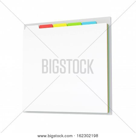 3D browser window with tabs. Close up template isolated on white. 3D render