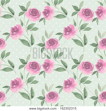 Seamless pattern of Roses. Watercolor vintage background 30
