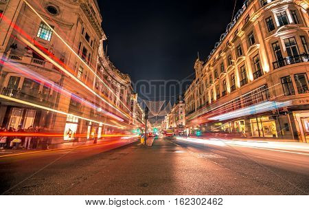 London Great Britain - October 30 2016: Long exposure shot of the night traffic on Regent Street.