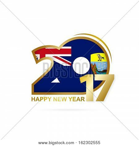 Year 2017 With Saint Helena Flag Pattern. Happy New Year Design On White Background.