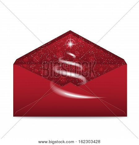 Christmas red envelope with stars and blizzard