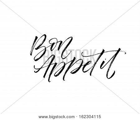 Bon appetit postcard. Ink illustration. Modern brush calligraphy. Isolated on white background.
