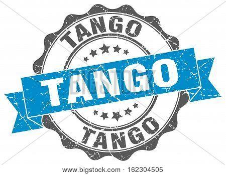 tango. stamp. sign. seal. round. retro. ribbon