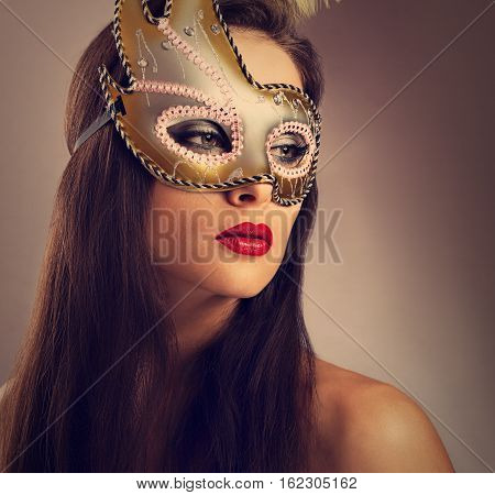 Beautiful Emotion Woman Posing In Carnival Mask With Bright Makeup And Red Lipstick On Empty Copy Sp