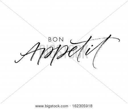Bon Appetit card. Ink illustration. Modern brush calligraphy. Isolated on white background.